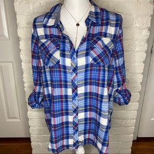 Arizona Jean Co. Plaid Flannel Button Up Shirt XL